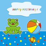 Happy birthday - frog and ball. Cards for kids - birthday cards - aquatic life Stock Photos