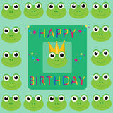 Happy Birthday Frogs. Happy birthday frog faces greetings card, vector Royalty Free Stock Images