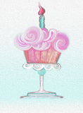 Happy Birthday frosting Cupcake Celebration  seamless background oil painting. Happy Birthday Cupcake with a candle on a pedestal dish textured oil painting Royalty Free Stock Images