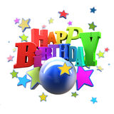 Happy Birthday fun. 3D rendering of a Happy Birthday greeting message with stars Royalty Free Stock Photos