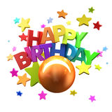 Happy Birthday fun. 3D rendering of a Happy Birthday greeting message with stars Royalty Free Stock Photography