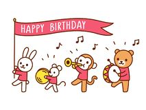 Happy Birthday Funny Animal Parade Cute Greeting Card With Cartoon Animals Playing
