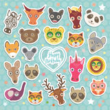 Happy birthday. Funny Animals card template on light blue Polka dot background. Vector Royalty Free Stock Image