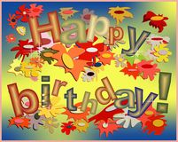 Happy birthday funny card. A funny holiday card with Happy birthday disposed aleatory among a lot of flowers of different colors vector illustration