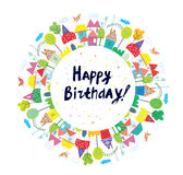Happy birthday funny card for kids with town. Graphic illustration design Stock Photo