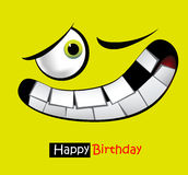 Happy birthday funny card smile and eyes Royalty Free Stock Image