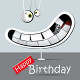Happy birthday funny card smile gray Stock Photography
