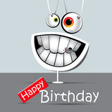 Happy birthday funny card smile Gray and white Royalty Free Stock Photo