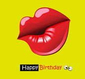 Happy birthday funny card smile kiss Royalty Free Stock Photography