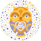 Happy birthday, Funny colorful owl on white background card template. Vector Stock Image