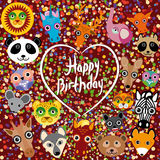 Happy birthday. funny cute animal face on a brown background. H. Eart. Colored confetti Royalty Free Stock Image