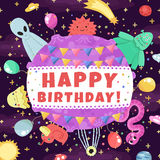 Happy Birthday funny and cute space greeting card (and background) with cartoon aliens and monsters. Stock Photo