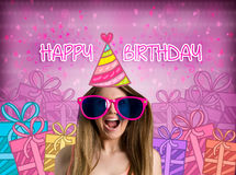 Happy birthday. Funny girl with party hat, concept - happy birthday stock images