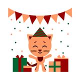 Vector color illustration of nice cat cartoon with gift boxs on white background. Flat style design for web, site stock illustration
