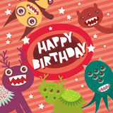 Happy birthday Funny monsters party card design on pink striped background with stars. Vector royalty free illustration