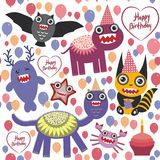 Happy birthday Funny monsters party card design Stock Image