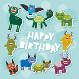 Happy birthday Funny monsters party card design. Vector Stock Photos