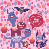 Happy birthday Funny monsters party design Royalty Free Stock Images