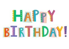 Happy birthday funny text isolated on white background Royalty Free Stock Photos