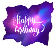 Happy Birthday!  Galaxy Greeting Card. Vector bright colorful co Royalty Free Stock Images