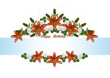 Happy Birthday garlands of orange lilies and white asters Stock Photos