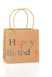 Happy Birthday Gift Bag. Made of recycled paper, over white background Royalty Free Stock Photos