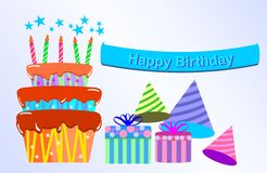 Happy Birthday with Gift box and Cakes Stock Image