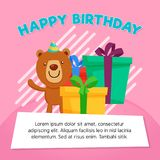 Happy Birthday Gift Box with Cute Bear Character Illustration. Greeting Card Template. Vector EPS10 royalty free illustration