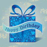 Happy Birthday Gift Box with Heart Pattern and Ribbon in Blue Colors Royalty Free Stock Images