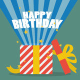 Happy birthday with a gift box. Illustration Stock Photos
