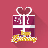 Happy birthday gift box ribbon pink background. Vector illustration eps 10 Royalty Free Stock Photos