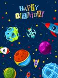 Happy birthday gift card with cute planets and rockets royalty free illustration
