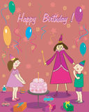 Happy Birthday Gift girl boy cake and fairy Royalty Free Stock Image