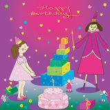 Happy Birthday  Gift girl cake and fairy Stock Photo