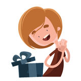 Happy birthday gift  illustration cartoon character Stock Images