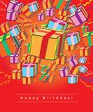 Happy birthday giftcard. Gift-boxes on red background greeting card Stock Photos