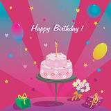 Happy Birthday. Gifts cake ballons and stars Stock Photos