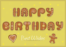 Happy birthday. Gingerbread font Stock Photo