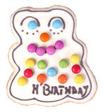 Happy birthday gingerbread man with smarties Royalty Free Stock Photo