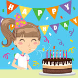 Happy Birthday Girl. Happy girl celebrating his seventh birthday blowing the candles out on a chocolate and cream cake stock illustration