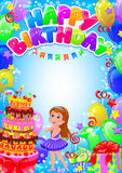 Happy birthday girl card with place for text Stock Photography
