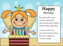 Happy birthday girl!. Cartoon background with a girl and birthday cake and place for text Royalty Free Stock Photography