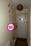 Happy Birthday Girl floating sign indoor house Stock Photo