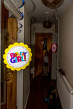 Happy Birthday Girl floating sign indoor house Royalty Free Stock Photography