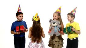 Happy birthday girl gets gifts from their friends stock video footage