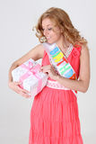 Happy birthday girl with gift Stock Photography