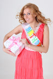 Happy birthday girl with gift Stock Images