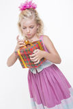 Happy birthday girl with a gift Stock Image