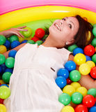Happy birthday of girl on playground. Royalty Free Stock Photos