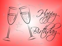 Happy Birthday Glasses Indicates Congratulating Happiness And Greeting. Happy Birthday Glasses Representing Celebrating Happiness And Celebrate Royalty Free Stock Image